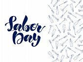 Labor Day Lettering On White Background With Blue Instruments, Such As A Hammer, A Screwdriver, A Pl poster