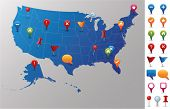 USA Map with GPS Icons. Every state is in its own shape.