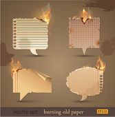 Vector set: Burning Old Paper. Vector Illustration