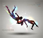 Amazing Kiss. Vector Illustration. EPS 10.