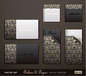 Fabric and Paper composite cover design. Vector Illustration.