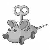 Clockwork Mouse Icon. Gray Monochrome Illustration Of Clockwork Mouse Icon For Web poster