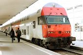 picture of loco  - Modern doubledeck train on a platform - JPG