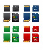 Set of flash cards different capacity