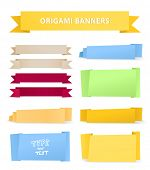 Colorful polygonal origami ribbons. Place your text here