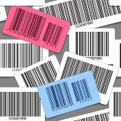 Different types of barcodes seamless background