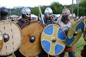 MOSCOW - SEPTEMBER 4: The ancient warriors with shields. The international festival of fights