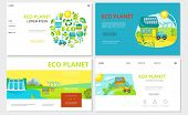 Flat Ecology Websites Set With Sun Eco Car House Hydroelectric Station Windmills Sun And Green Ecolo poster