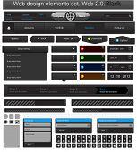 Web design elements set black. Vector illustration