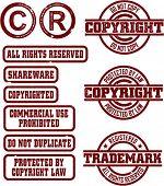 Copyright & Trademark Grunge Stamps