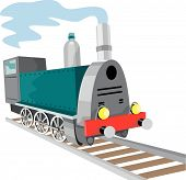 stock photo of train track  - Vector art of a Vintage steam train - JPG