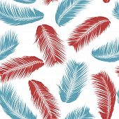 Tropical Palm Tree Leaves. Vector Seamless Pattern. Simple Silhouette Coconut Leaf Sketch. Summer Fl poster