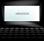 Vector blank cinema screen lighting with seats