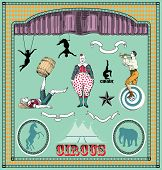 Vector set: vintage circus elements
