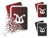 Joker Gambling Cards Icon In Dissolved, Dotted Halftone And Undamaged Solid Variants. Elements Are G poster