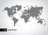 Vector earth maze map concept