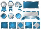 Metallic blue seals, signs and labels