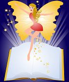 Open fairytale book and fairy flying above pages