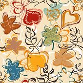 Colorful leaves seamless background