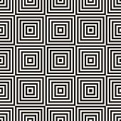 Vector Geometric Squares Seamless Pattern. Abstract Black And White Graphic Ornament With Lines, Str poster