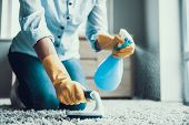 Young Beautiful Woman Cleaning Carpet With Brush. Closeup Of Girl Wearing Protective Gloves Cleaning poster