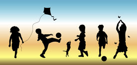 picture of children playing  - silhouettes of five children doing various play time activities - JPG