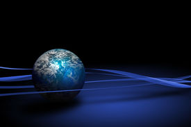 picture of world-globe  - World globe planet on a blue and white background - JPG