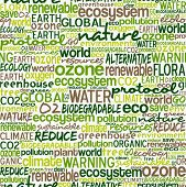 pic of ozone layer  - Go green text cloud about environmental conservation pattern background - JPG