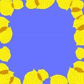 Quadro de folhas de Outono no fundo azul