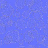 Padrão sem emenda de folhas de Outono no fundo azul