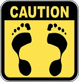 Sign Caution Footprints.