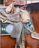 foto of western saddle  - Closeup of western US style horse tack and saddle - JPG