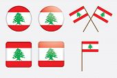 Badges With Flag Of Lebanon