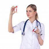 Portrait Of A Girl Doctor. Phonendoscope