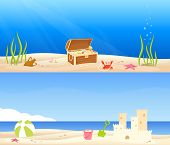 Colorful Seaside And Beach Banners For Children