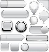 Blank grey web buttons for website or app. Vector eps10.