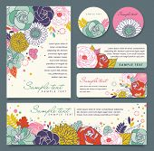 picture of wishing-well  - card templates with flowers background - JPG