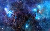 foto of starry  - starry background of stars and  nebulas in deep outer space - JPG