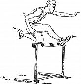 vector - male in a hurdle race , isolated on background