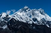 Everest, Changtse, Lhotse And Nuptse Peaks In Himalaya