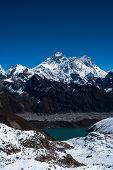 Everest, Nuptse, Lhotse Peaks. Gokyo Lake And Village