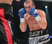 ODESSA, UKRAINE - JULY 21: Vyacheslav Uzelkov (pictured) vs Mohamed Belkacem in fight for WBO Inter-