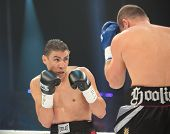 ODESSA, UKRAINE - JULY 21: Vyacheslav Uzelkov (right) vs Mohamed Belkacem in fight for WBO Inter-Con
