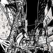 Vector illustration of a saxophonist playing saxophone in a street