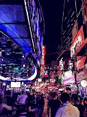 Vector illustration of a street at night in Bangkok - Thailand