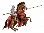 stock photo of jousting  - Illustration of a knight mounted on a horse holding a lance ready to joust - JPG