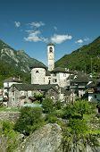 church in alpine landscape  (verzasca valley, switzerland)