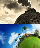 Collage of an empty planet's soil and smoking power plant and green lush meadow with buildings and t
