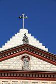 Cross and church (Santa Barbara Mission, California, USA)