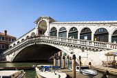 An image of the famous Rialto Bridge in Venice Italy
